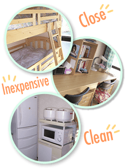 "Dormitory is ""Close"", ""Inexpensive"", ""clean"""
